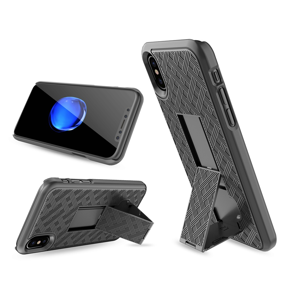 Bakeey 3 in 1 Woven Armor Belt Clip kickstand Protective Case for iPhone X