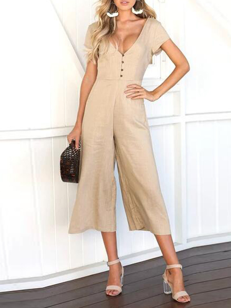Casual V-neck Short Sleeves Button Pockets Overalls Jumpsuit