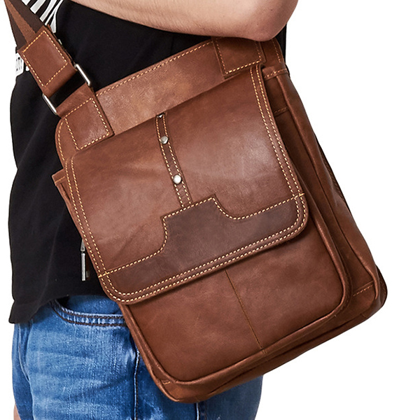 Genuine Leather Brown Vintage Messenger Bag