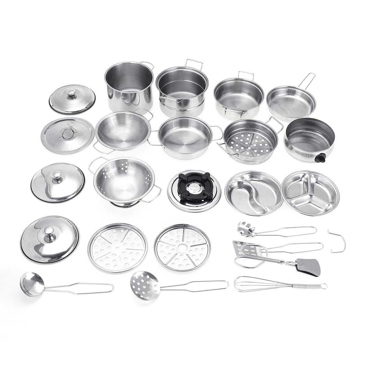 32PCS Mini Stainless Steel Kitchen Cutlery Play House Food Toy Boiler Kettle Cup Bowl Spoon Cookware