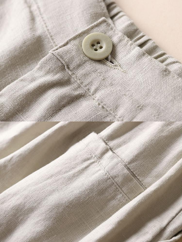 Casual Women Cotton Linen Solid Color Pants