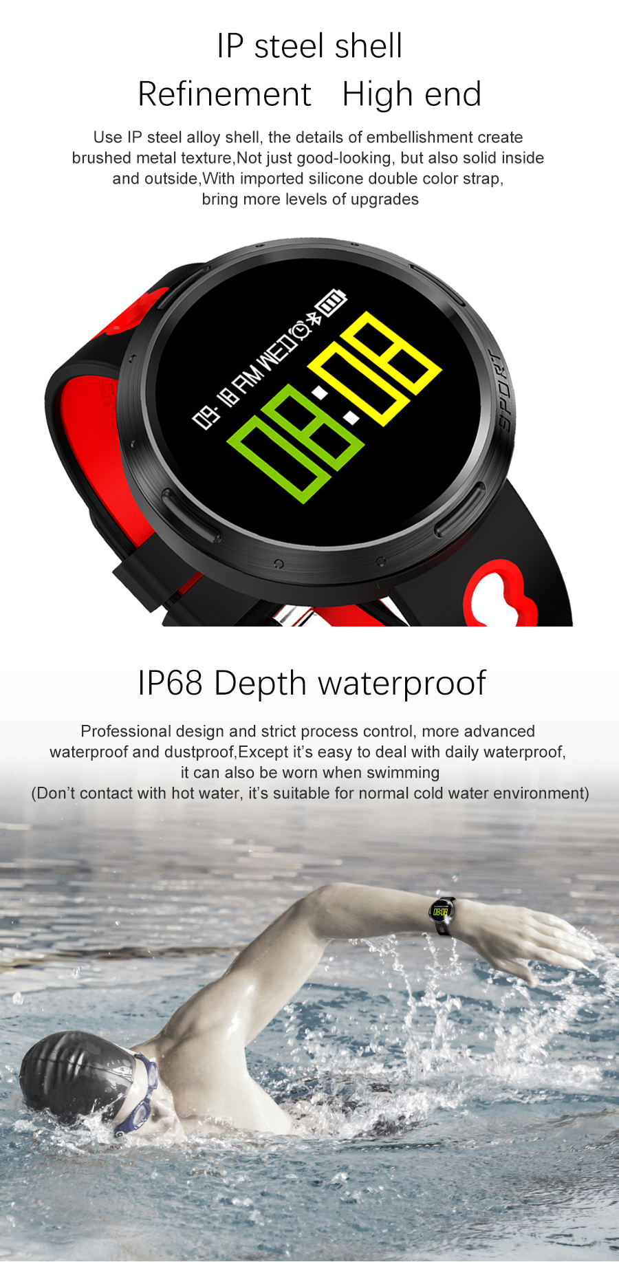 KALOAD X9-VO IP68 Waterproof Blood Oxygen Pressure Heart Rate Monitor Smart Bracelet