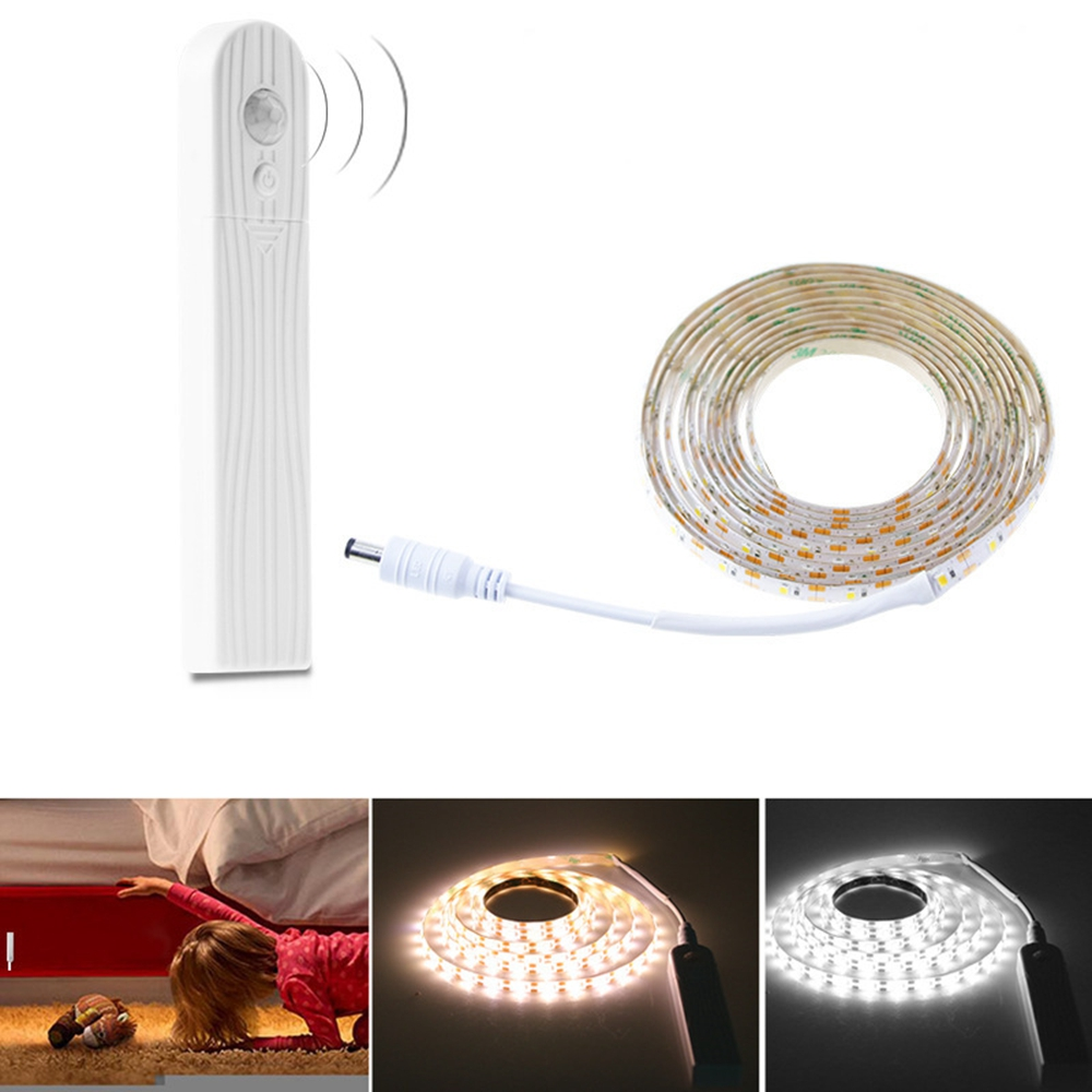Battery Powered 1M 2M PIR Motion Sensor Activated Dimmable LED Strip Light for Cabinet Wardrobe