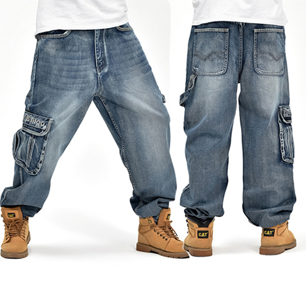 Loose Plus Size 30-46 Hip-Hop Men Fashion Big Size Jeans Pop Skateboard Pants