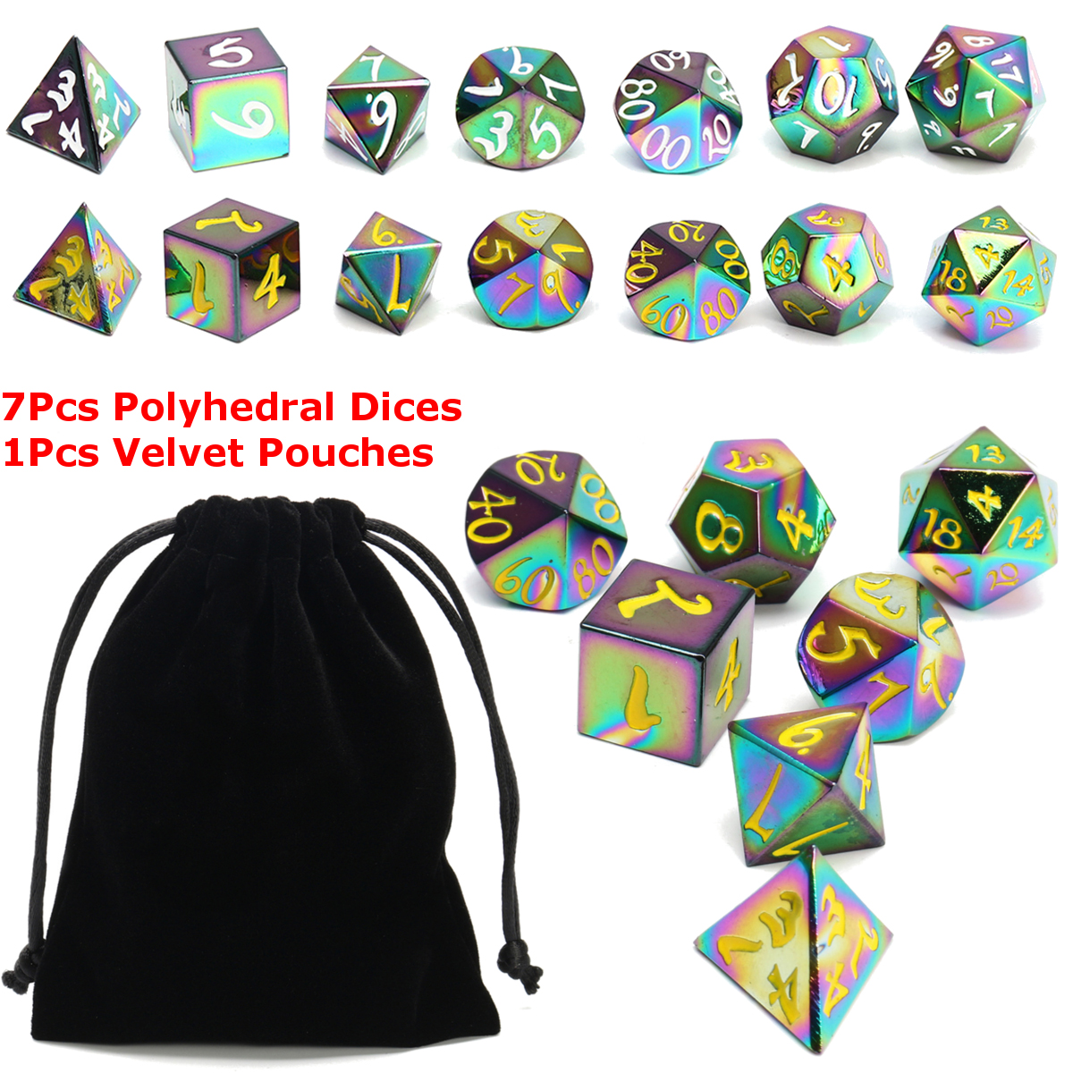 7Pcs Antique Metal Polyhedral Dices Set Role Playing Game Gadget With Bag