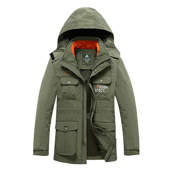 Mens Waterproof Breathable Removable Hood Spring Fall Loose Thin Outdoor Jacket