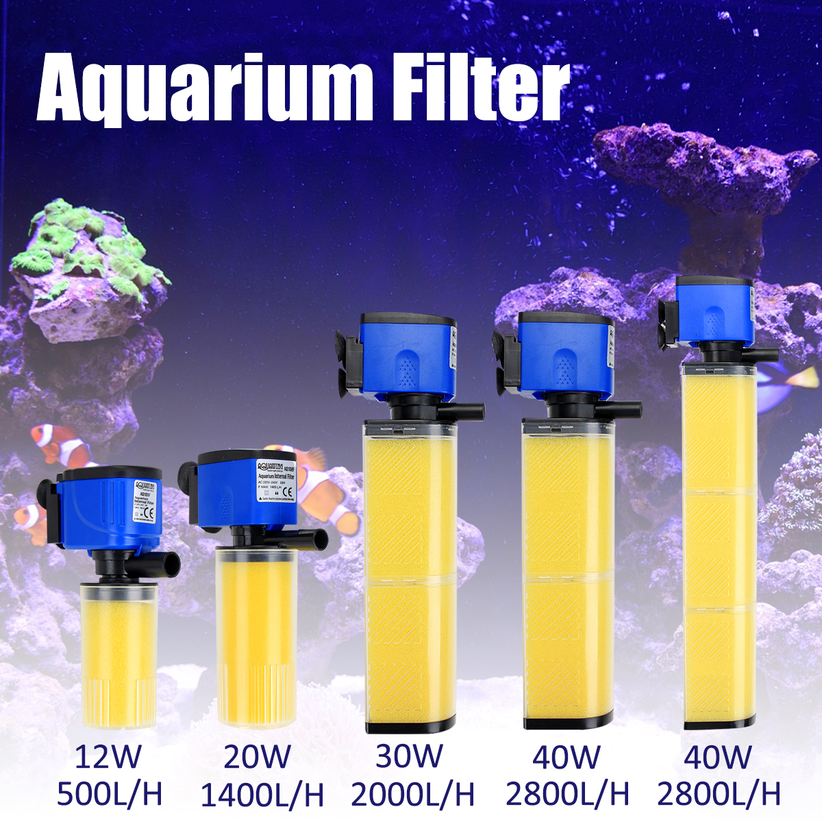 Submersible Internal Oxygen Submersible Filter Aquarium Fish Tank Water Pumps 12W/20W/30W/40W