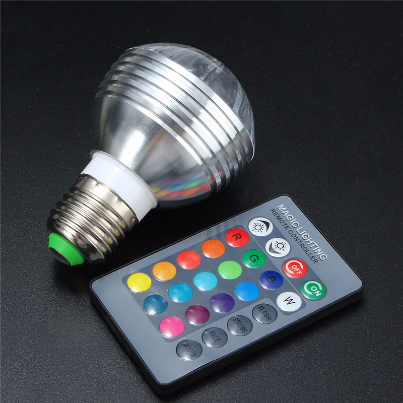 E27/B22/GU10/E14 5W Dimmable RGB Color Changing LED Light Bulb + Remote AC85-265V