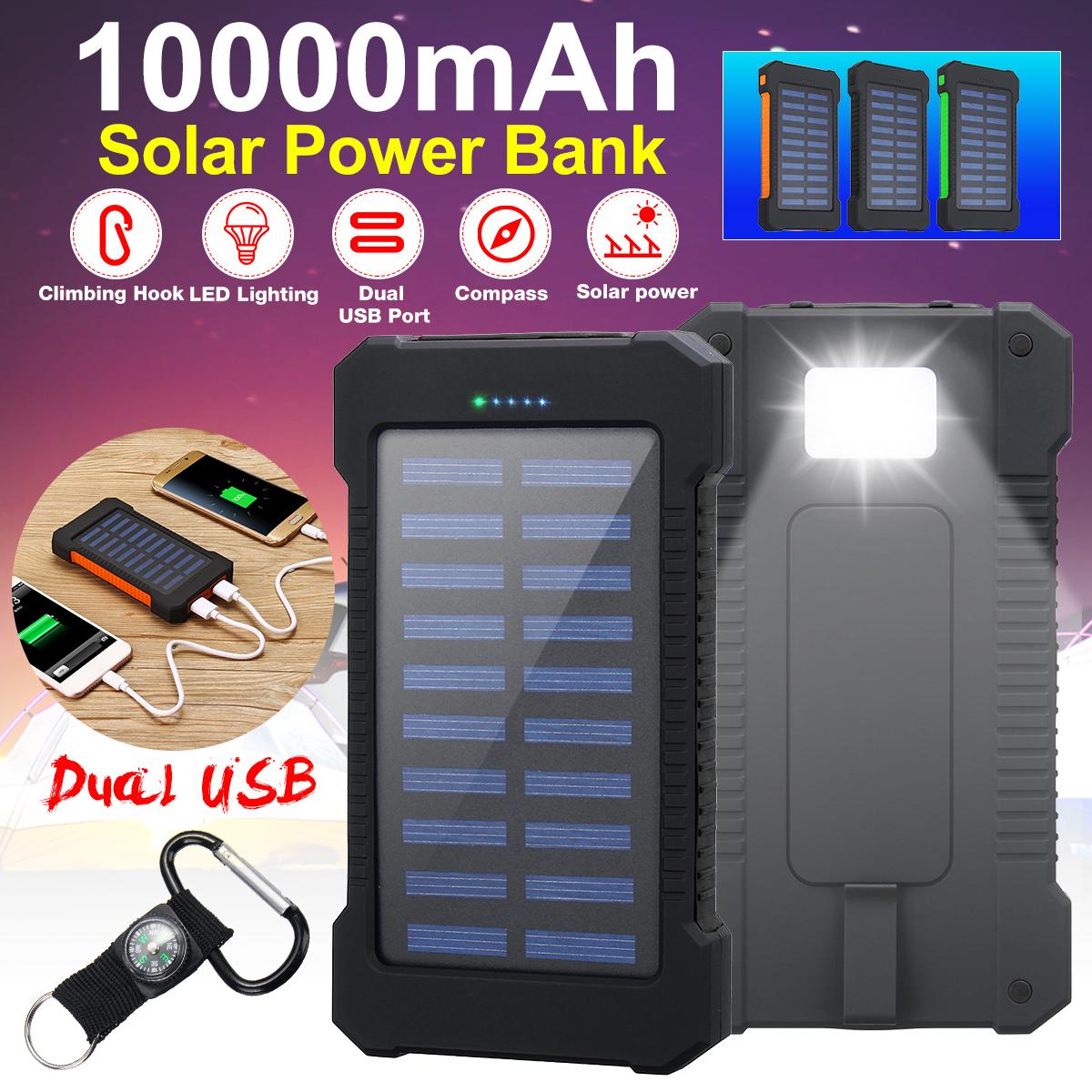 Crochet d'escalade de banque d'énergie solaire de chargeur de chargeur solaire Batterie imperméable de boussole de LED 6000mAh 2 USB
