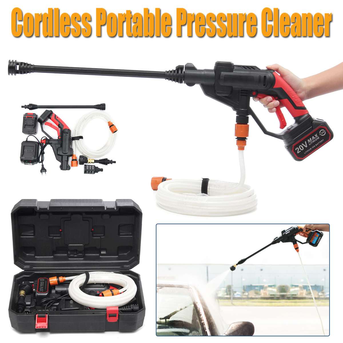 20V Li-ion Battery Cordless Hydroshot Portable Power Cleaner Pressure Washer Cleaner Gun