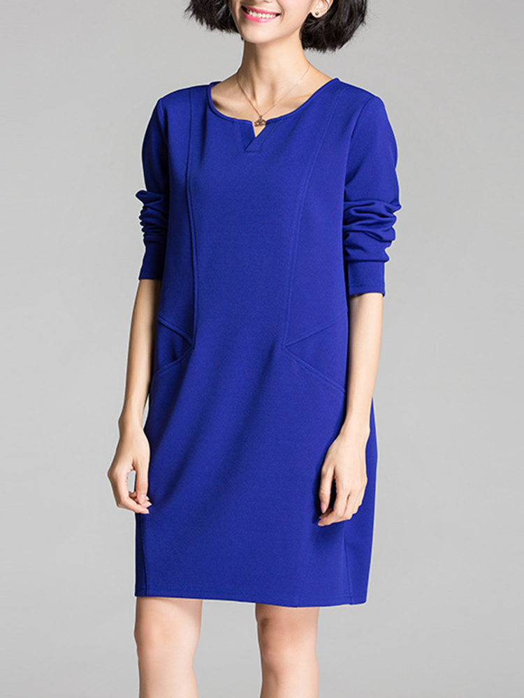 Elegant Women V Neck Slim Double Pocket Party OL Mini Dress