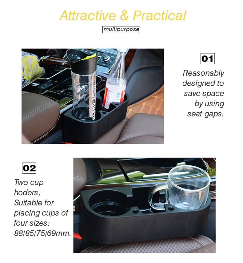 RUNDONG Universal Car Beverage Cup Holder Portable Vehicle Seat Crevice Organizer Shelving