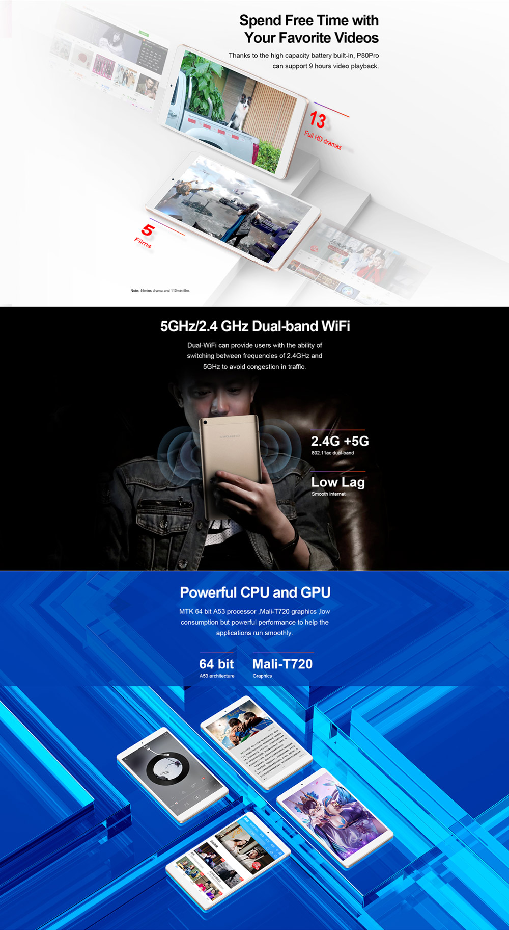 Original Box Teclast P80 PRO MT8163 Quad Core 2GB RAM 32GB 8 Inch Android 7.0 Tablet PC