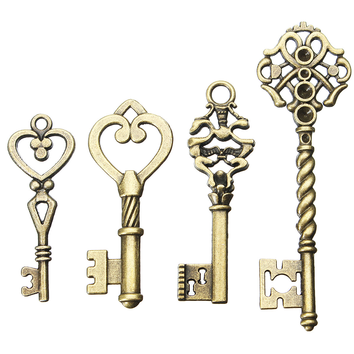 4Pcs Bronze Key Vintage For Pendant Necklace Bracelet DIY Handmade Accessories Decoration