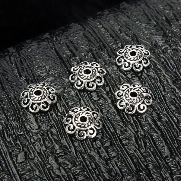 s925 Sterling Silver Vintage Retro Flower Beads DIY Design Jewelry Findings