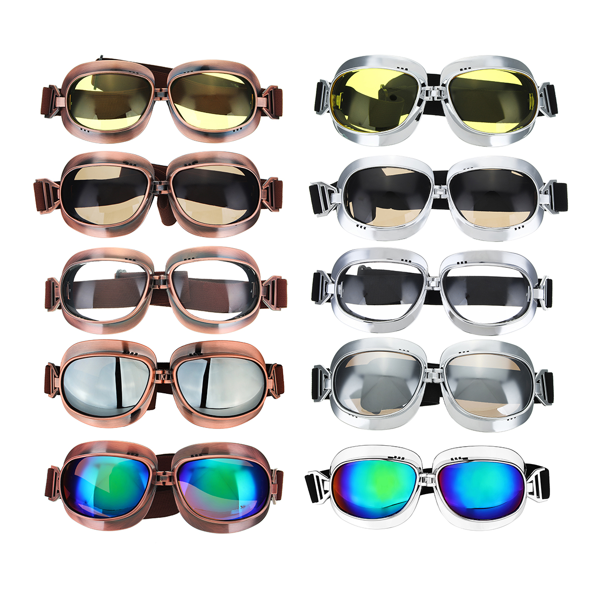 Retro Motorcycle Goggles Vintage Windproof Riding Glasses Silver/Bronze Frame