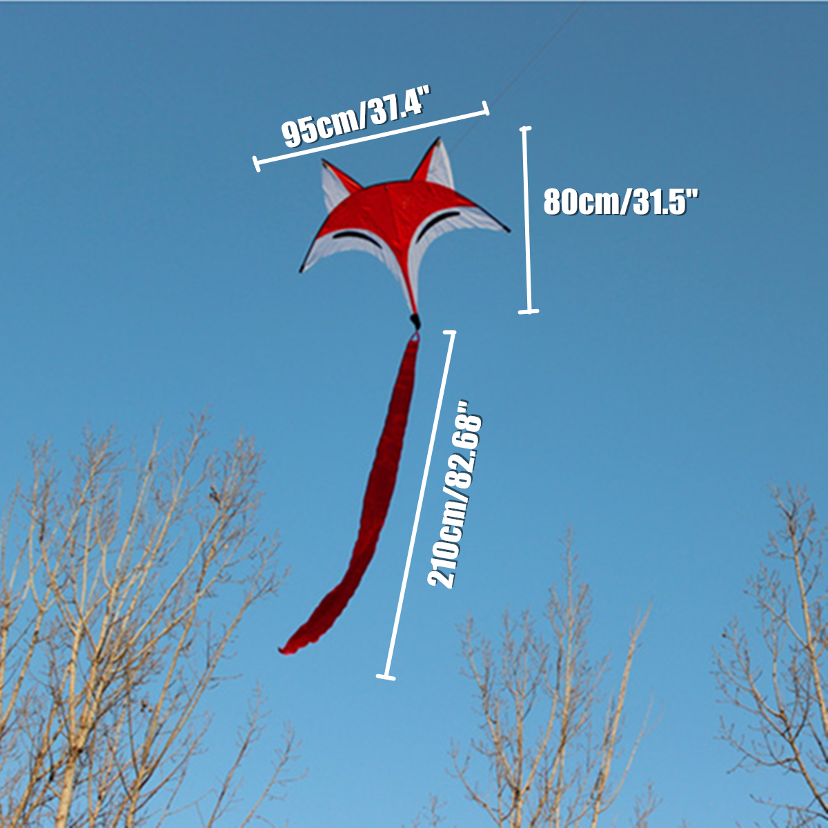 95cmx80cm Outdoor Sport Red Fox Flying Kite Tail Toy Children Kids Game Activity