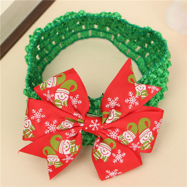Xmas Baby Girl Christmas Bowknot Headbrand Hair Band Head Wear Accessories