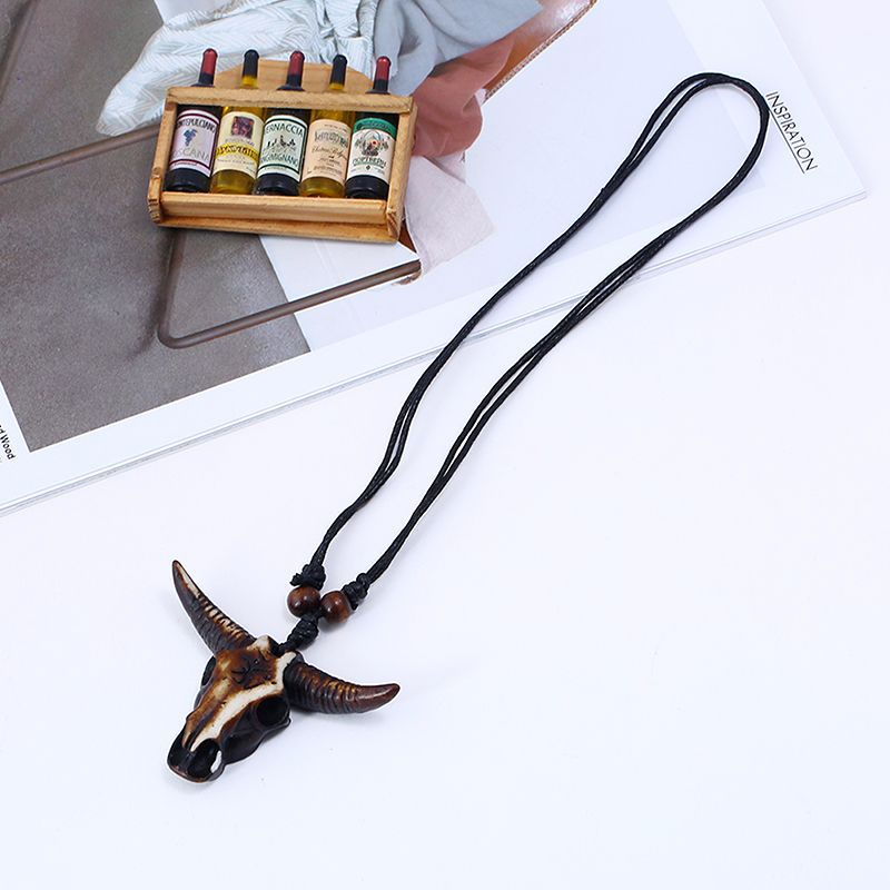 Vintage Ox Skull Head Pendant Adjustable Lether Long Necklace for Men Women