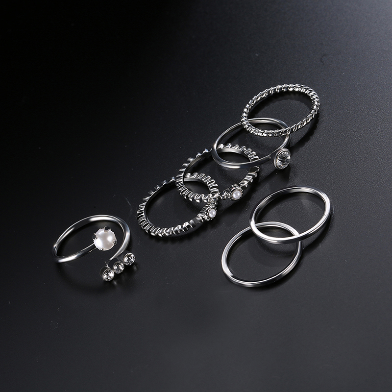 10 Pcs of Gold Silver Plated Artificial Pearl Rings Women Bracelets Jewelry Set