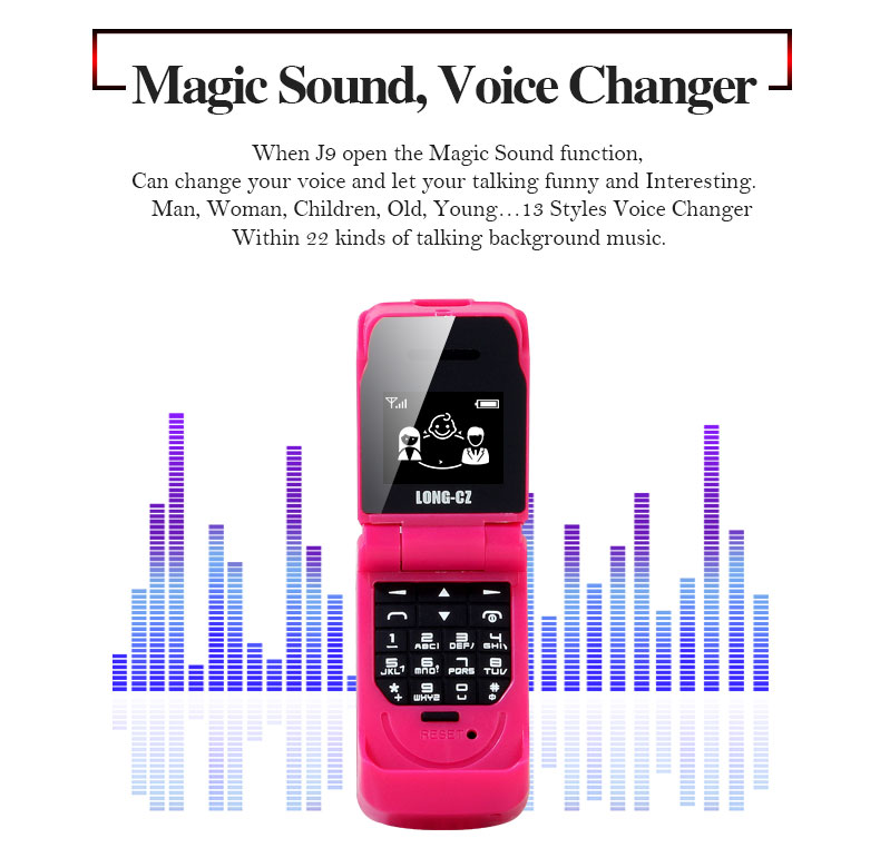 LONG-CZ J9 0.66 Inch 300mAh Smallest Flip Phone bluetooth Dialer FM Magic Voice Handsfree Earphone Mini Card Phone