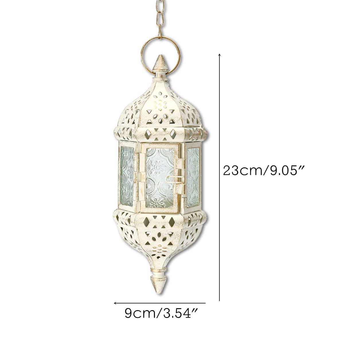 Vintage Tea Light White Candle Holder Moroccan Hanging Glass Lantern Home Decor