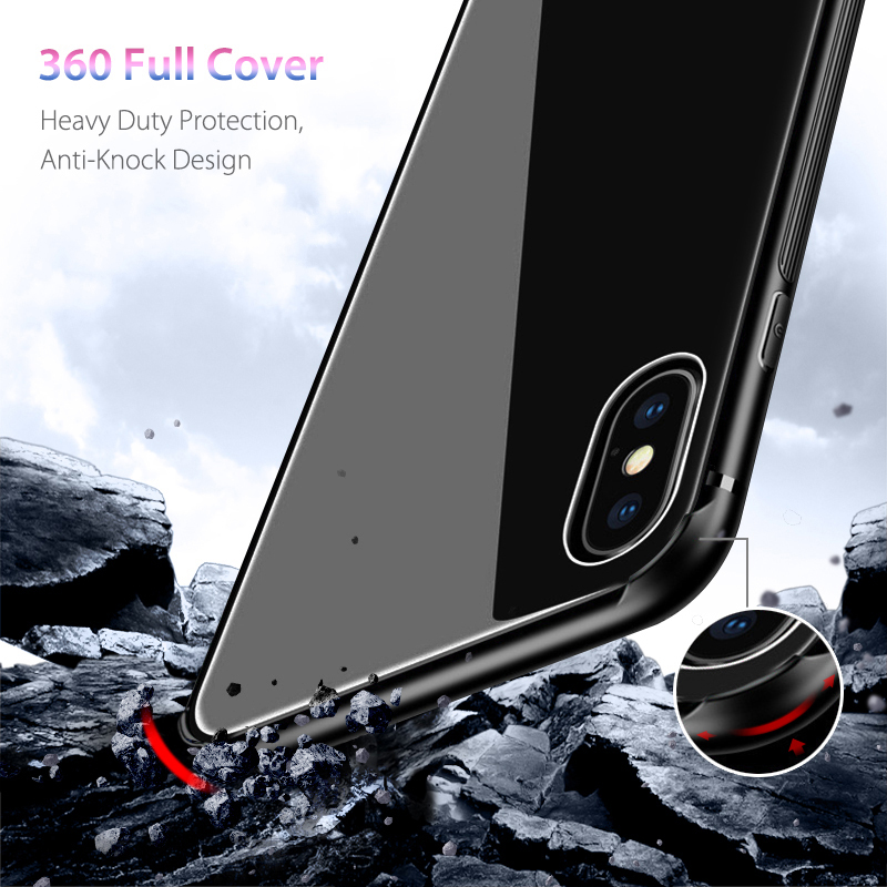Bakeey Tempered Glass Protective Case for iPhone XS/XR/XS Max TPU Frame+Glass Back Cover