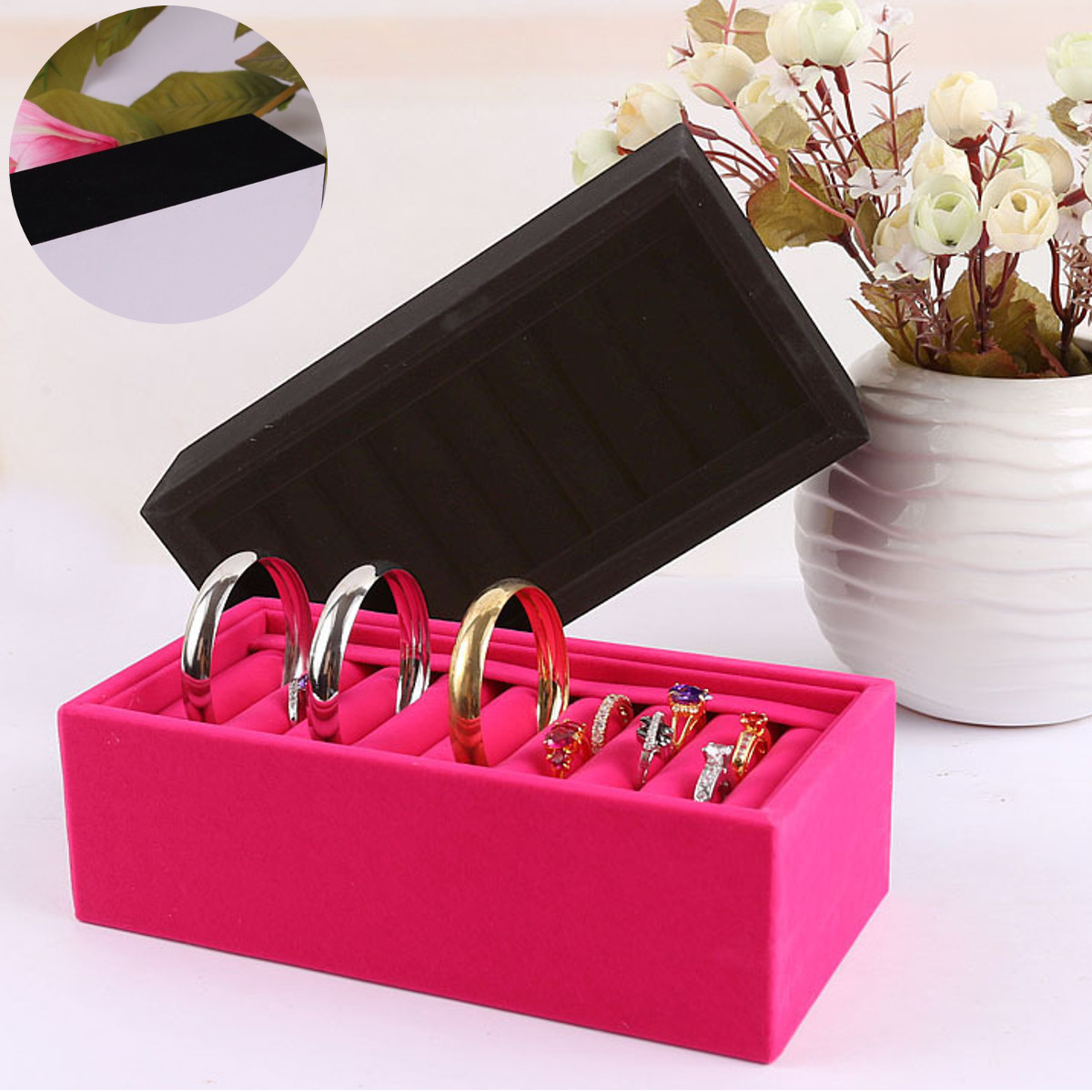 Ring Earrings Jewelry Bracelet Box Storage Case Display Stand Holder