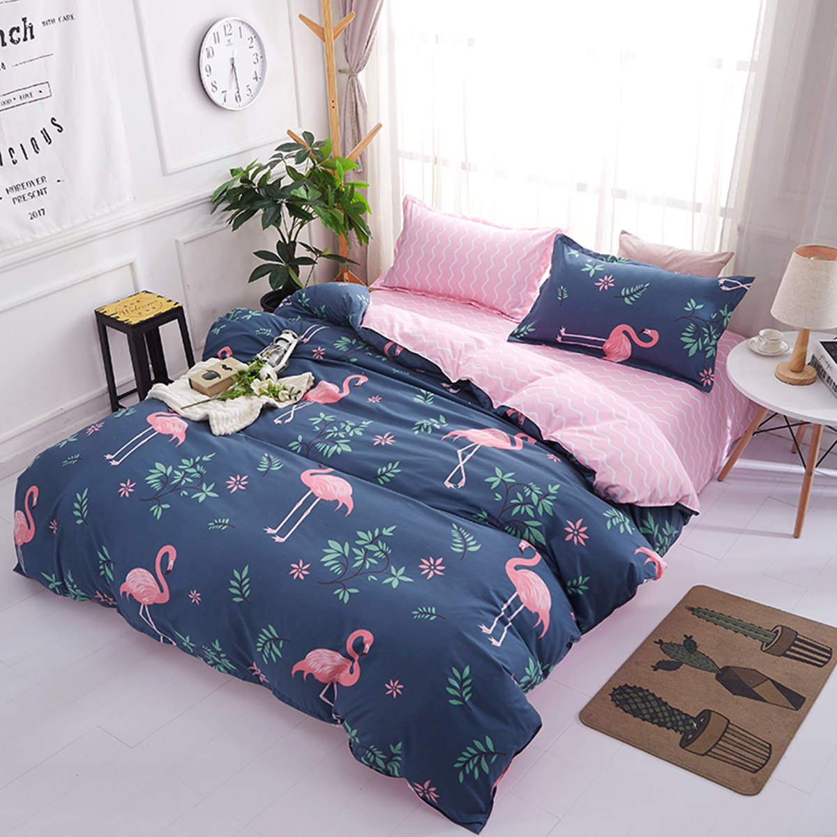 4PCS Bedclothes Polyester Print Bedding Sets Quilt Duvet Cover Pillowcase Decor