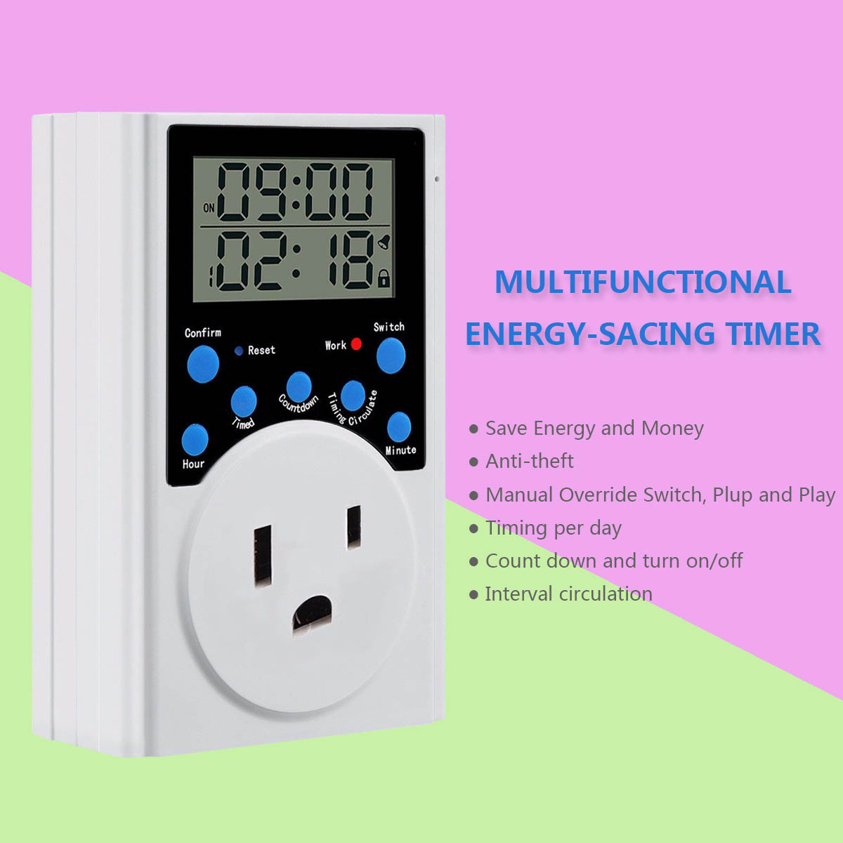 110V Programmable LCD Display Digital Timer Switch Socket with Clock Function Timer Switch Socket