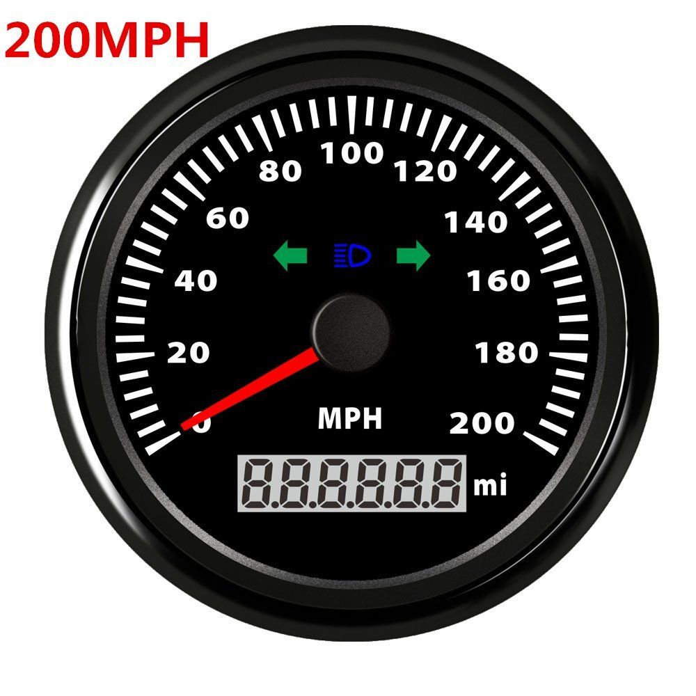 85mm GPS Speedometer Waterproof 200MPH Gauge Digital Stainless Car Truck Black