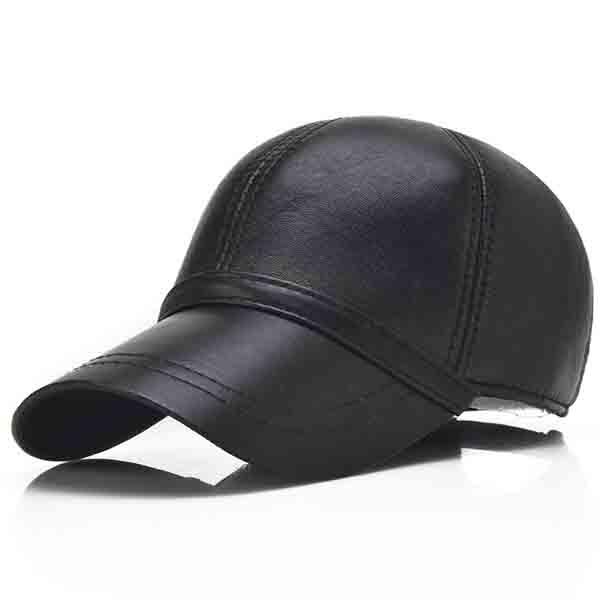 Men Genuine Sheepskin Leather Baseball Cap Solid Black Adjustable Sport Visor Hats