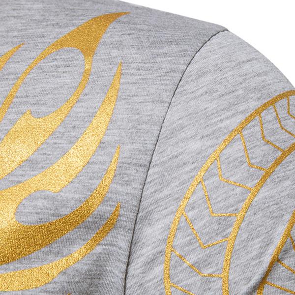 Fashion Men 's Dragon Totem Hot Stamping T-shirt Leisure Long Sleeved Round Neck Tops
