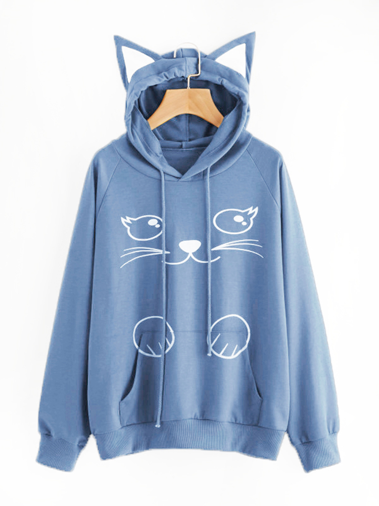 Casual Loose Cat Print Cat Ears Hooded Women Sweatshirts
