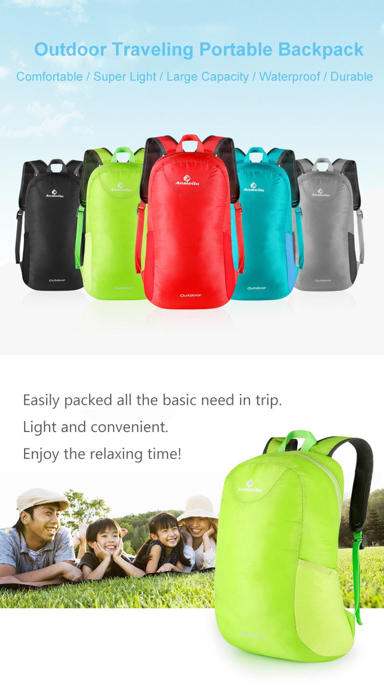 ANMEILU 15L Foldable Backpack Rucksack Waterproof Nylon Bag For Outdoor Camping Hiking Travel