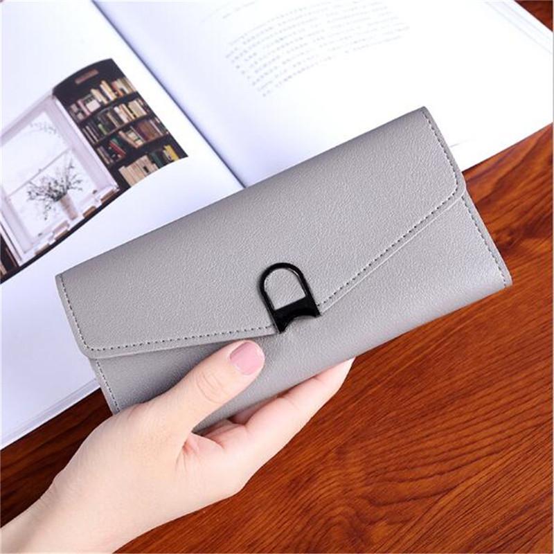 Women Colorful Foldable PU Leather Clutch Bag Wallet Card Holder Purse Phone Cash Storage Bag