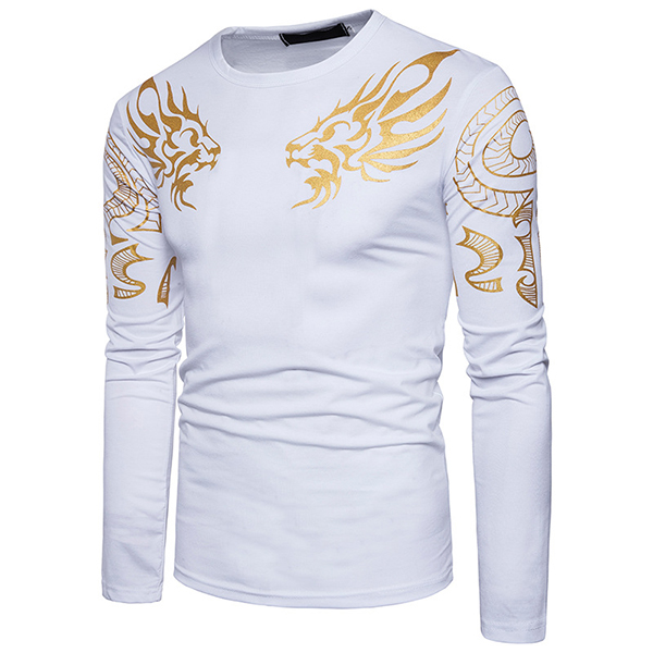 Fashion Men 's Dragon Totem Hot Stamping T-shirt Leisure Long Sleeved Round Neck Tops