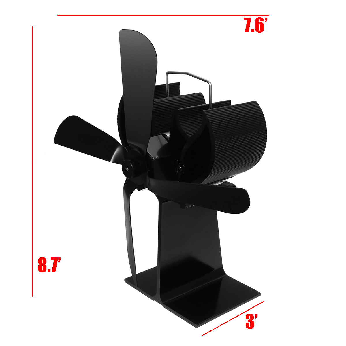 Heat Powered Stove Fan 4 Blades for Wood Log Heating Burner Fireplace Eco Quiet