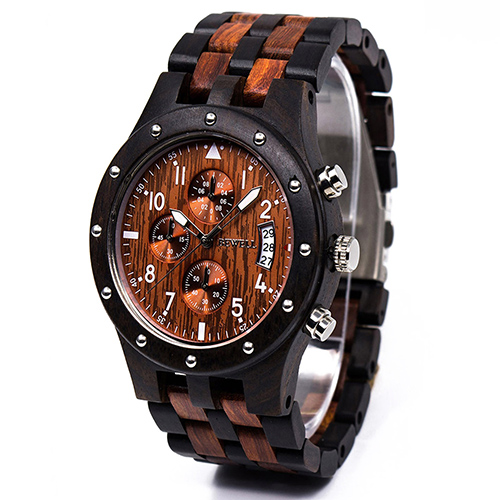BEWELL ZS-W109D Calendar Casual Style Unisex Watch Wood