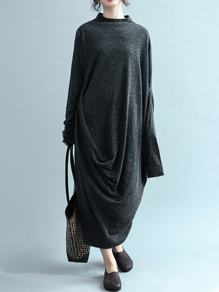 Women Long Sleeve Crew Neck Loose Solid Baggy Maxi Dress