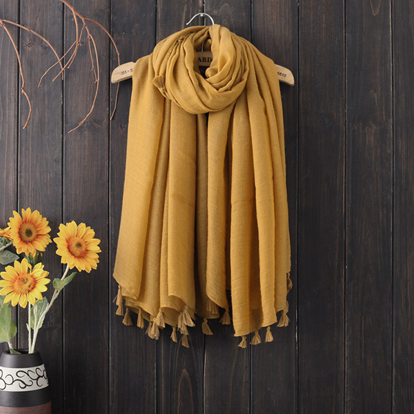 Women Tassel Cotton Chinses Style Long Square Scarves