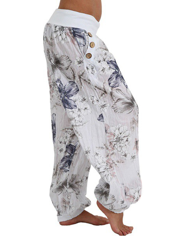 Women Casual Loose Floral Print Button Full Length Pants