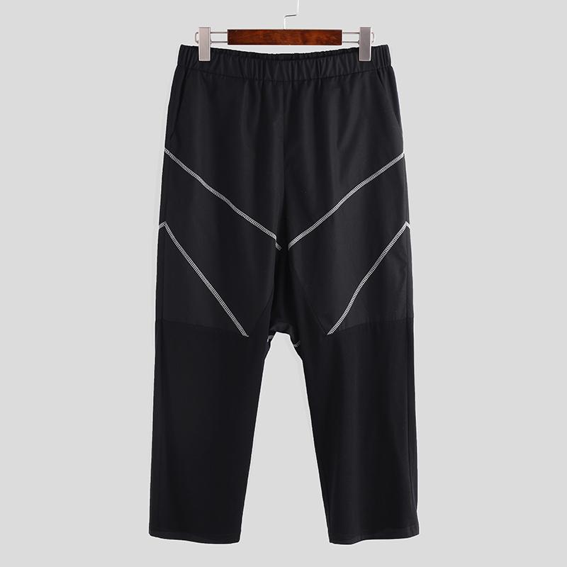 Men Line Cutting Stitching Solid Color Pants