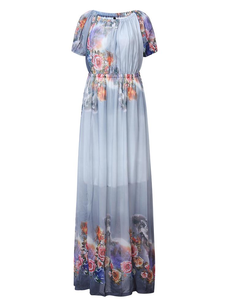 Women Print Chiffon Off Shoulder Beach Maxi Dress