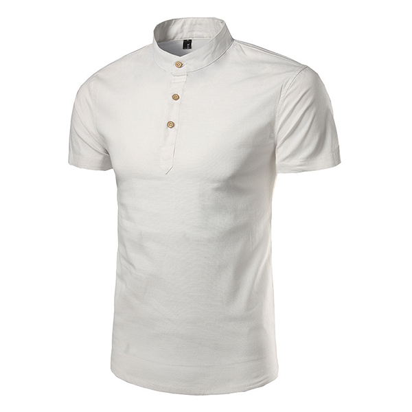 Summer Mens Cotton Stand Collar Short Sleeve T-shirts Casual Slim Fit Solid Color Tops Tees