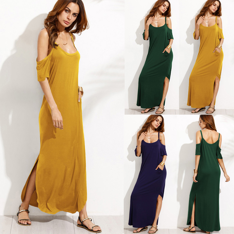 Casual Women Cold Shoulder Half Sleeve Split Maxi Dresses