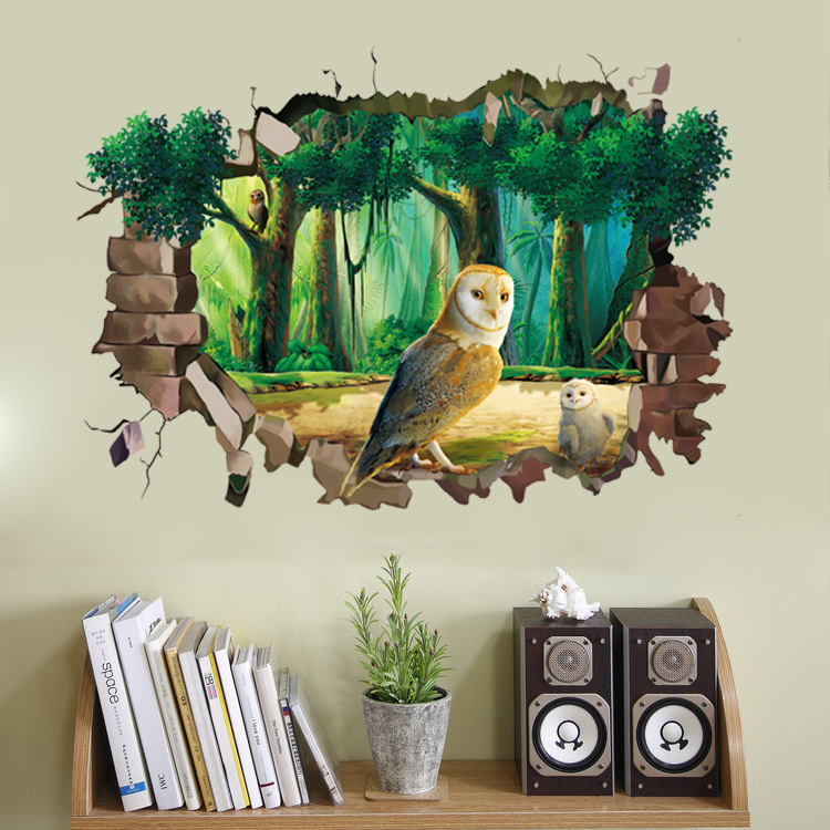 Miico Creative 3D Animal Owl Broken Wall Removable Home Waterproof Decorative Wall Decor Sticker
