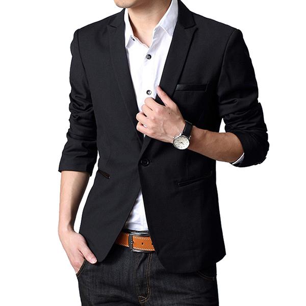Spring Fall Casual Fashion Slim Fit Men Blazers Suit Jacket XS-2XL