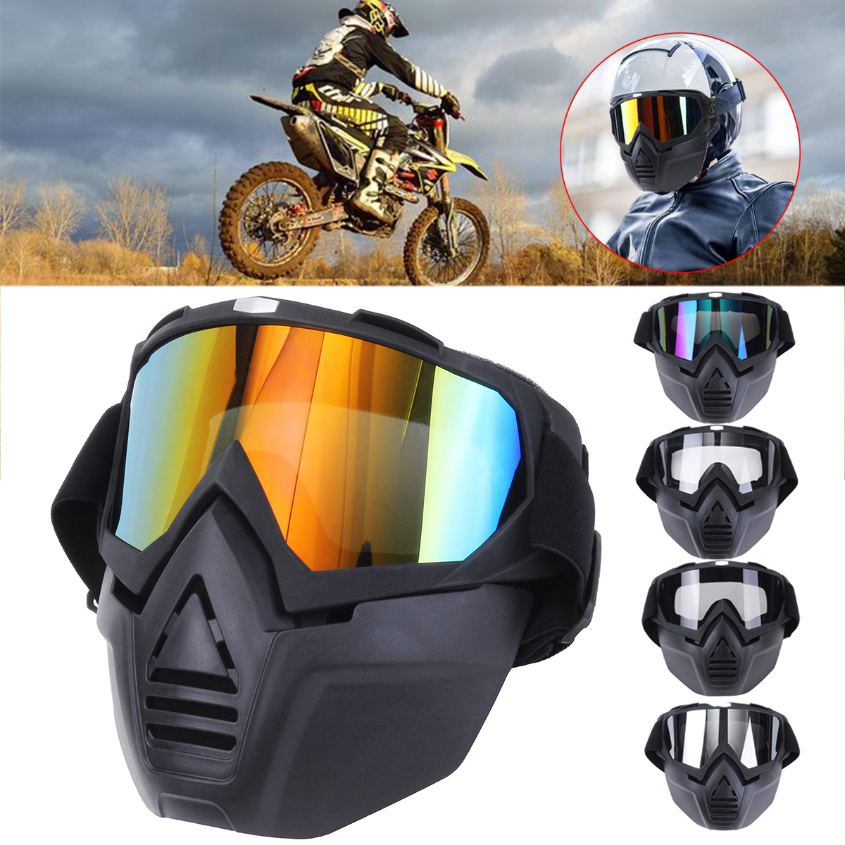 Anti Fog Eyewear Motorcycle Bike Full Face Mask Goggles Len Nose Helmet Shield