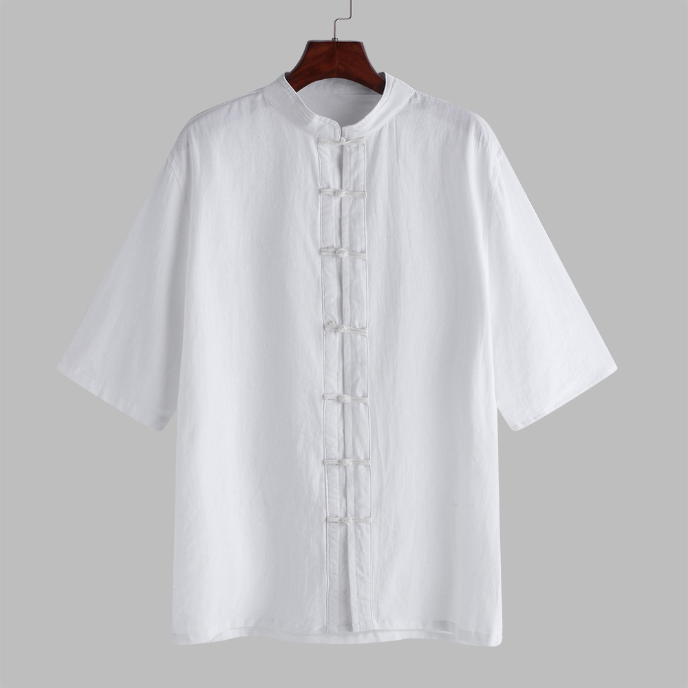 Mens Plus Size Chinese Style Frog Buttons Cotton Shirts
